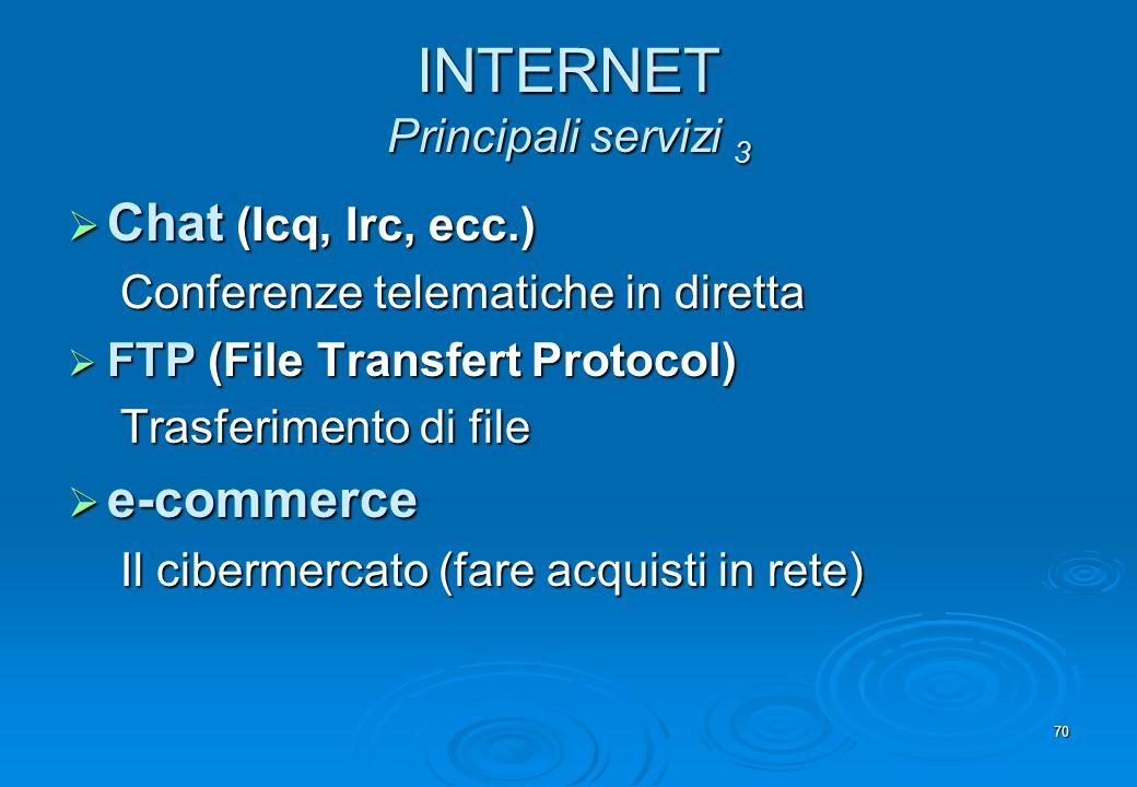 70 INTERNET Principali servizi 3 Chat (Icq, Irc, ecc.) Chat (Icq, Irc, ecc.) Conferenze telematiche in diretta FTP (File Transfert Protocol) FTP (File