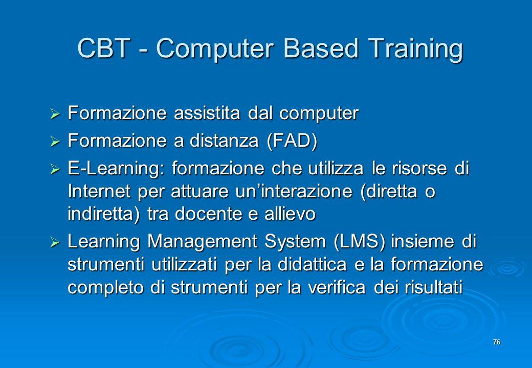 76 CBT - Computer Based Training Formazione assistita dal computer Formazione assistita dal computer Formazione a distanza (FAD) Formazione a distanza