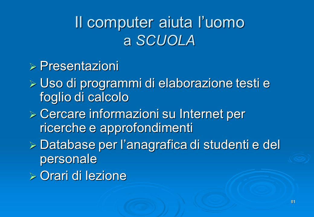 81 Il computer aiuta luomo a SCUOLA Presentazioni Presentazioni Uso di programmi di elaborazione testi e foglio di calcolo Uso di programmi di elabora
