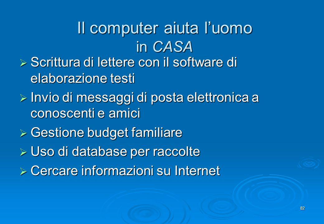 82 Il computer aiuta luomo in CASA Scrittura di lettere con il software di elaborazione testi Scrittura di lettere con il software di elaborazione tes