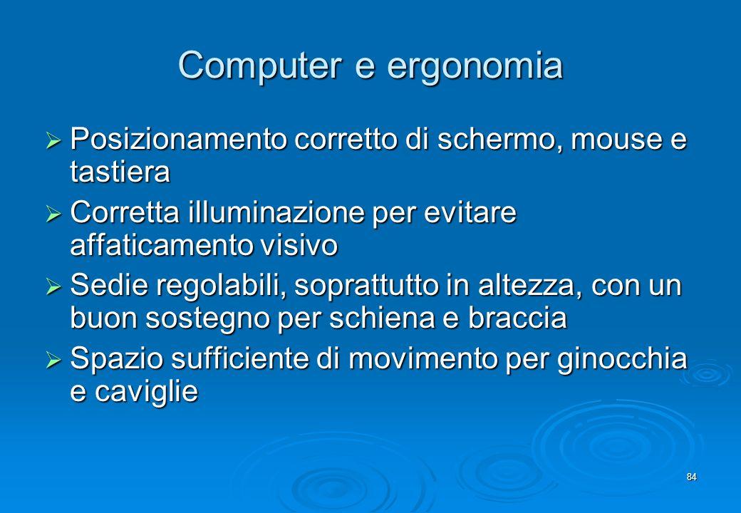 84 Computer e ergonomia Posizionamento corretto di schermo, mouse e tastiera Posizionamento corretto di schermo, mouse e tastiera Corretta illuminazio