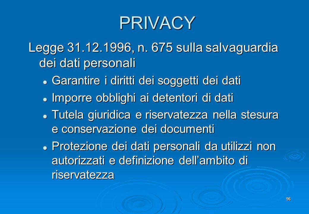 96 PRIVACY Legge 31.12.1996, n. 675 sulla salvaguardia dei dati personali Garantire i diritti dei soggetti dei dati Garantire i diritti dei soggetti d