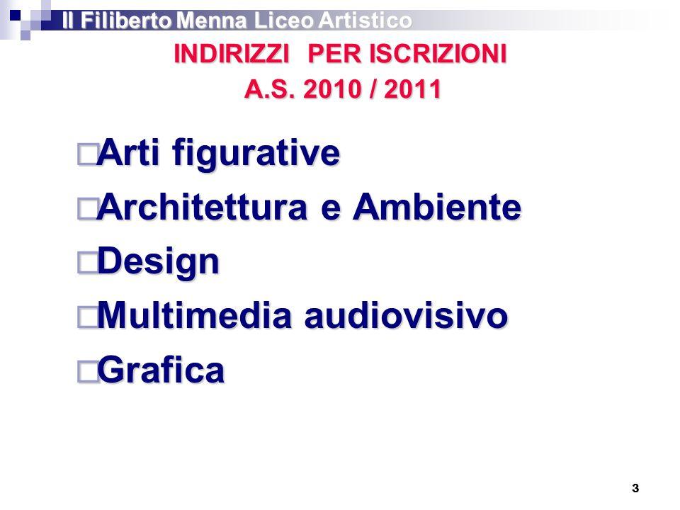 INDIRIZZI PER ISCRIZIONI A.S. 2010 / 2011 Arti figurative Arti figurative Architettura e Ambiente Architettura e Ambiente Design Design Multimedia aud