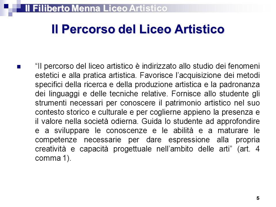 Il Percorso del Liceo Artistico Il percorso del liceo artistico è indirizzato allo studio dei fenomeni estetici e alla pratica artistica. Favorisce la