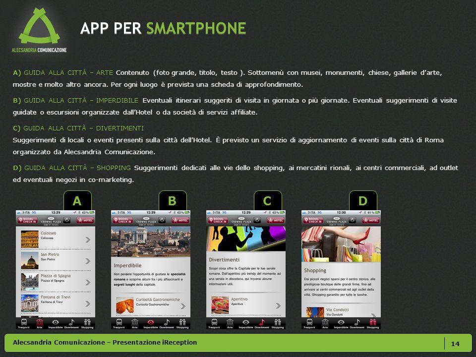 APP PER SMARTPHONE 14 A) GUIDA ALLA CITTÀ – ARTE Contenuto (foto grande, titolo, testo ).