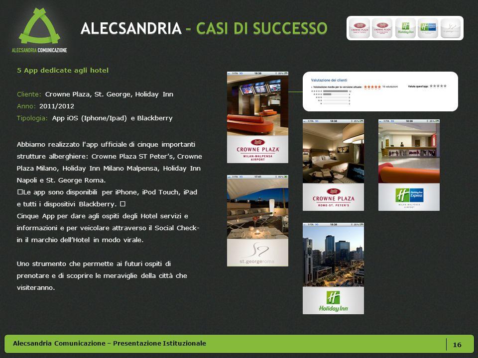 ALECSANDRIA – CASI DI SUCCESSO 16 5 App dedicate agli hotel Cliente: Crowne Plaza, St.