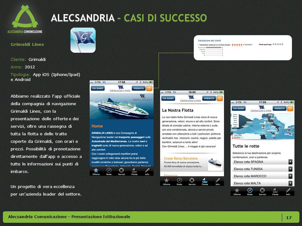 ALECSANDRIA – CASI DI SUCCESSO 17 Alecsandria Comunicazione – Presentazione Istituzionale Grimaldi Lines Cliente: Grimaldi Anno: 2012 Tipologia: App i