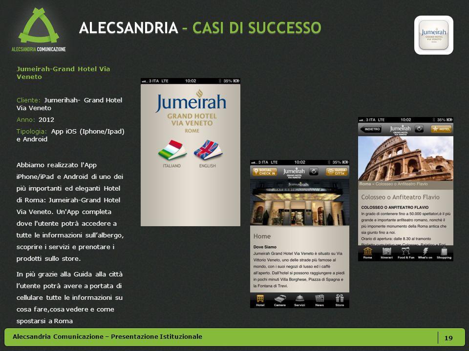 ALECSANDRIA – CASI DI SUCCESSO 19 Alecsandria Comunicazione – Presentazione Istituzionale Jumeirah-Grand Hotel Via Veneto Cliente: Jumerihah- Grand Ho