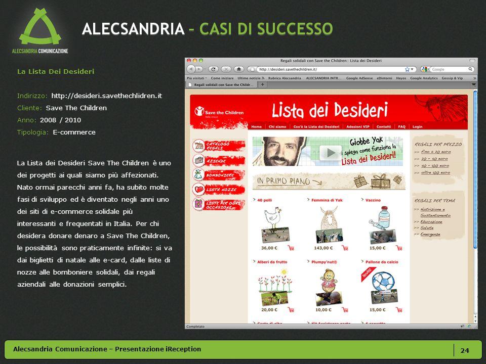 ALECSANDRIA – CASI DI SUCCESSO 24 La Lista Dei Desideri Indirizzo: http://desideri.savethechlidren.it Cliente: Save The Children Anno: 2008 / 2010 Tip