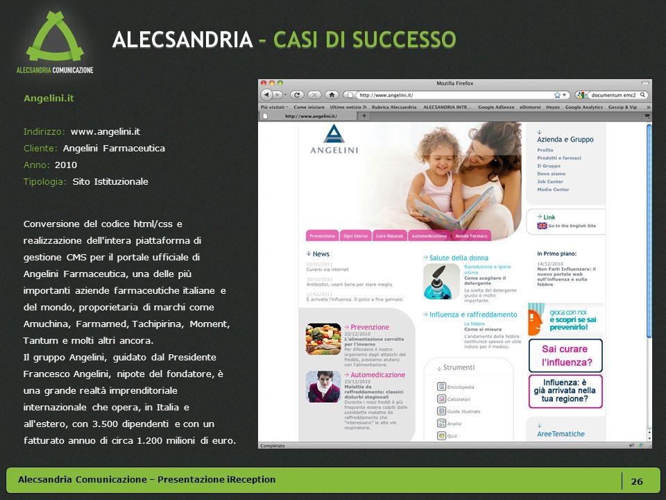 ALECSANDRIA – CASI DI SUCCESSO 26 Angelini.it Indirizzo: www.angelini.it Cliente: Angelini Farmaceutica Anno: 2010 Tipologia: Sito Istituzionale Conve