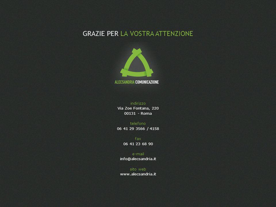 indirizzo Via Zoe Fontana, 220 00131 - Roma telefono 06 41 29 3566 / 4158 fax 06 41 23 68 90 e-mail info@alecsandria.it sito web www.alecsandria.it GR