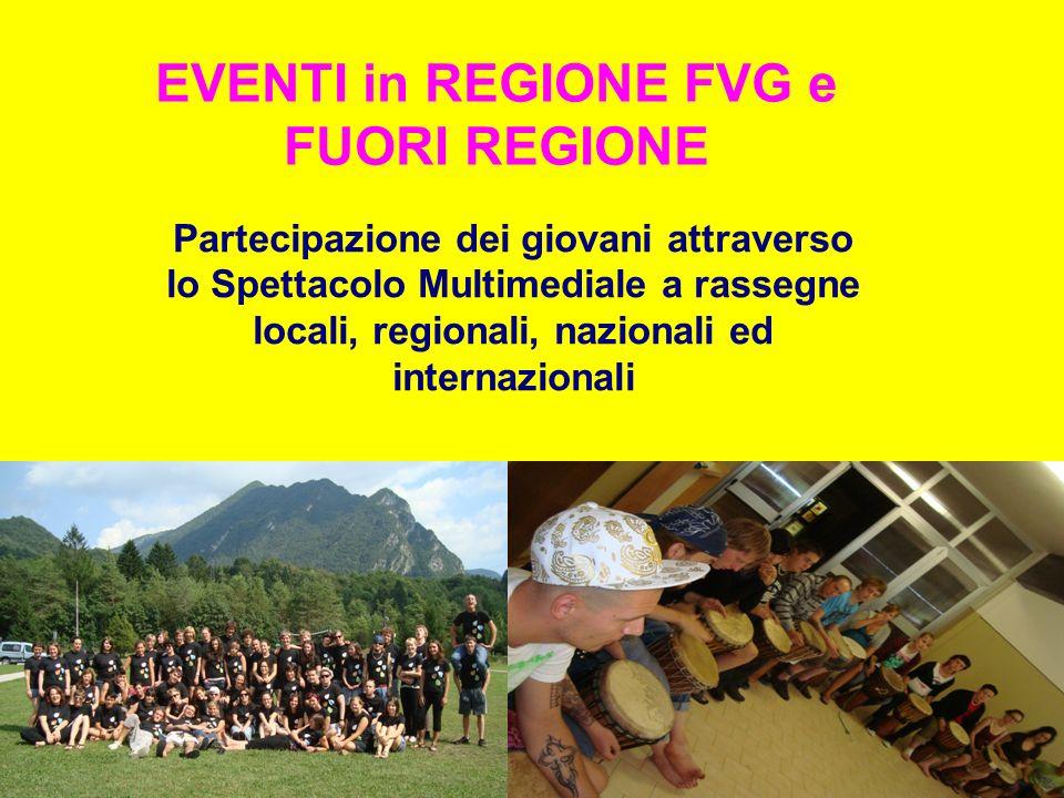 EVENTI in REGIONE FVG e FUORI REGIONE Partecipazione dei giovani attraverso lo Spettacolo Multimediale a rassegne locali, regionali, nazionali ed internazionali