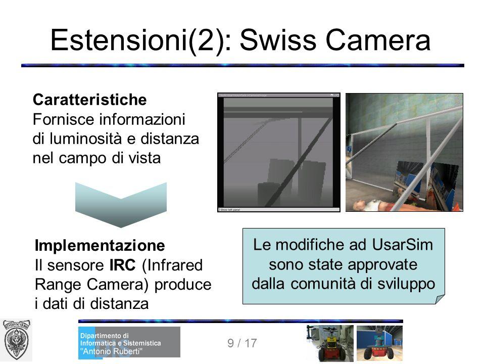 9 / 17 Estensioni(2): Swiss Camera Le modifiche ad UsarSim sono state approvate dalla comunità di sviluppo Caratteristiche Fornisce informazioni di luminosità e distanza nel campo di vista Implementazione Il sensore IRC (Infrared Range Camera) produce i dati di distanza