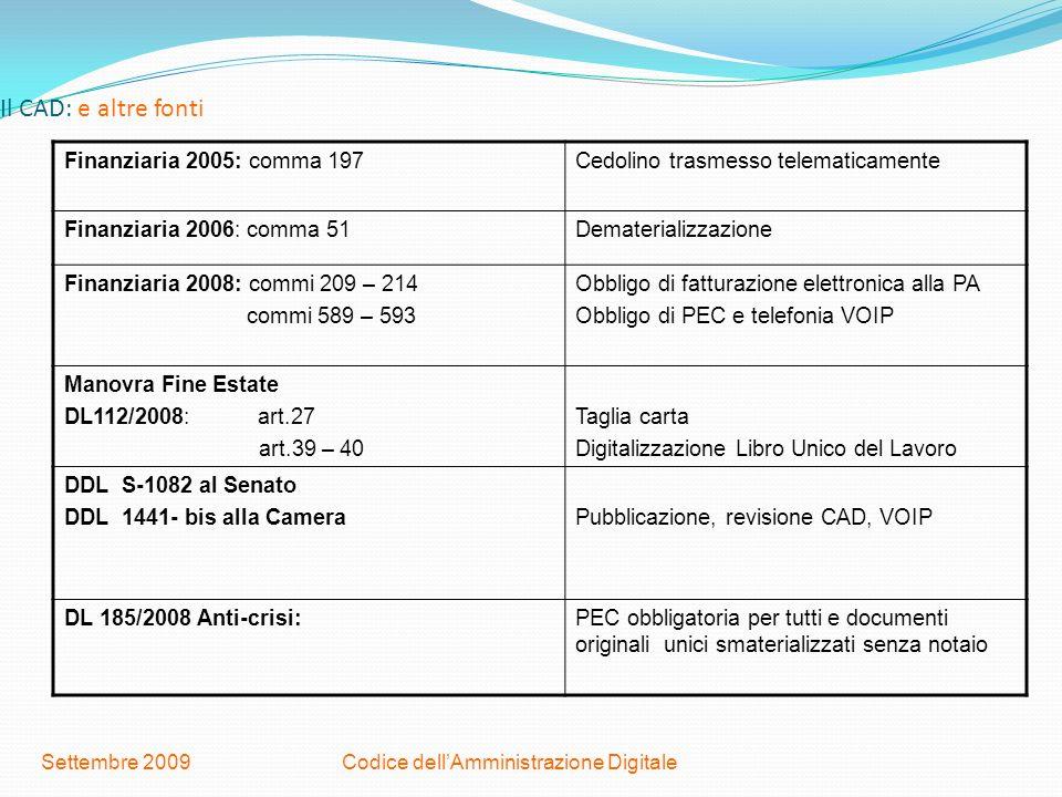 Codice dellAmministrazione DigitaleSettembre 2009 Il CAD: e altre fonti Finanziaria 2005: comma 197Cedolino trasmesso telematicamente Finanziaria 2006