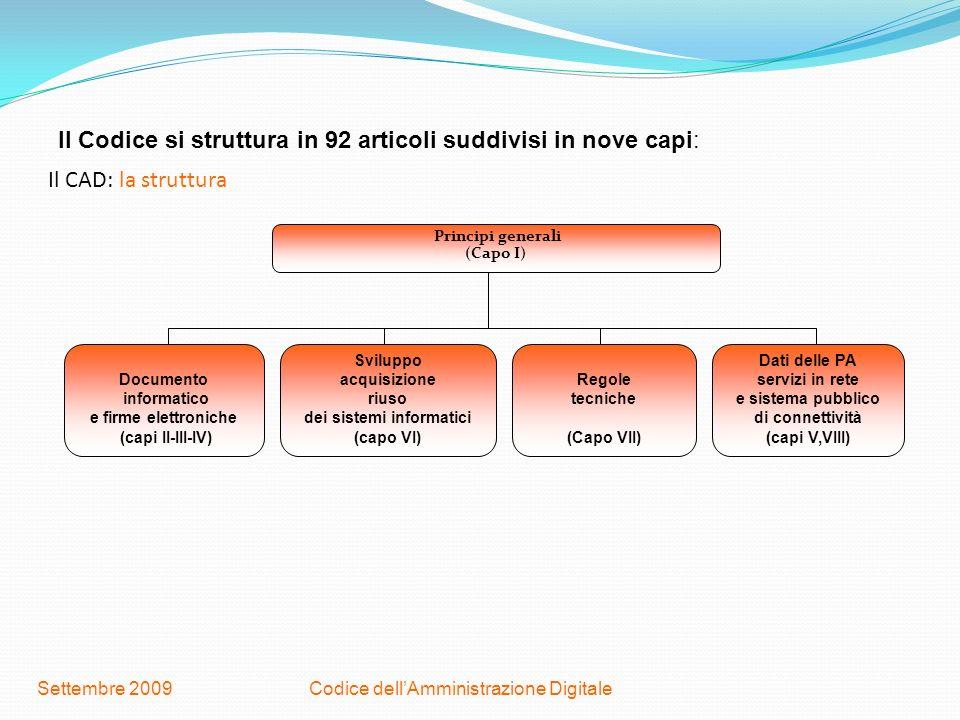 Codice dellAmministrazione DigitaleSettembre 2009 Il CAD: la struttura Principi generali (Capo I) Documento informatico e firme elettroniche (capi II-