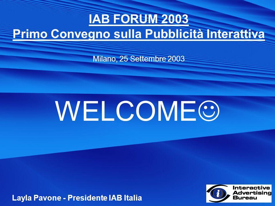 IAB FORUM 2003 Primo Convegno sulla Pubblicità Interattiva Milano, 25 Settembre 2003 WELCOME Layla Pavone - Presidente IAB Italia
