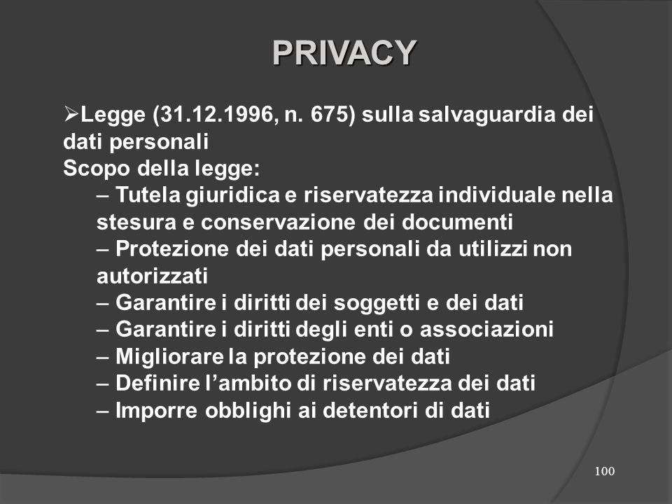 100 Legge (31.12.1996, n. 675) sulla salvaguardia dei dati personali Scopo della legge: – Tutela giuridica e riservatezza individuale nella stesura e