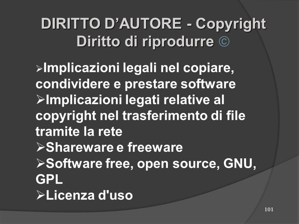 102 Copyright nei software Acquistando un CD con un sw applicativo o un so, non potremo beneficiare del diritto di copiare o diffondere il materiale in esso contenuto, ma otterremo solo il diritto di utilizzarlo per noi stessi.