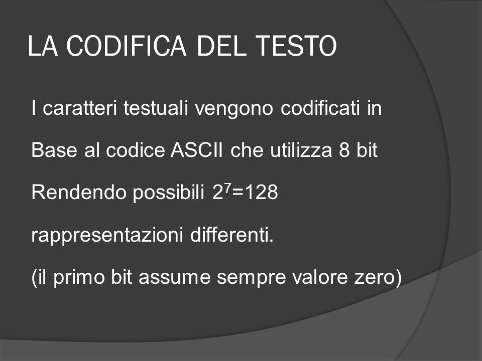 LA CODIFICA DEL TESTO I caratteri testuali vengono codificati in Base al codice ASCII che utilizza 8 bit Rendendo possibili 2 7 =128 rappresentazioni