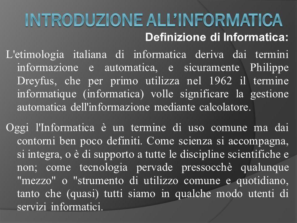 Definizione di Informatica: L'etimologia italiana di informatica deriva dai termini informazione e automatica, e sicuramente Philippe Dreyfus, che per