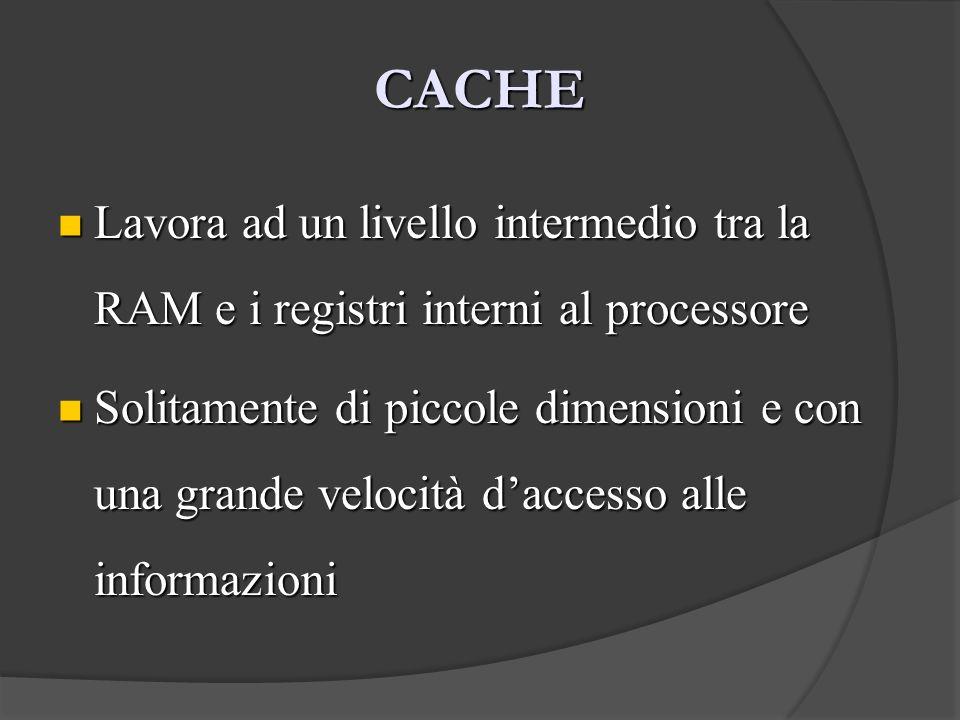 CACHE Lavora ad un livello intermedio tra la RAM e i registri interni al processore Lavora ad un livello intermedio tra la RAM e i registri interni al