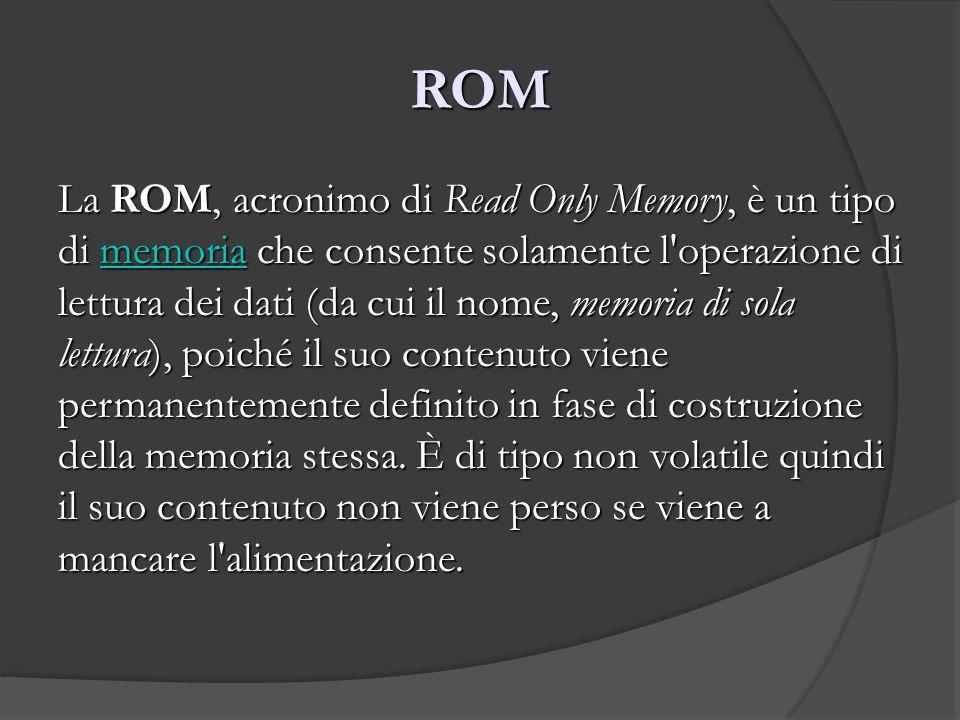 ROM La ROM, acronimo di Read Only Memory, è un tipo di memoria che consente solamente l'operazione di lettura dei dati (da cui il nome, memoria di sol