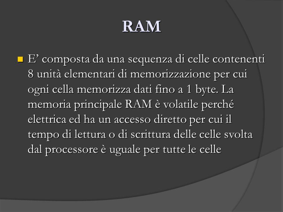 RAM E composta da una sequenza di celle contenenti 8 unità elementari di memorizzazione per cui ogni cella memorizza dati fino a 1 byte. La memoria pr