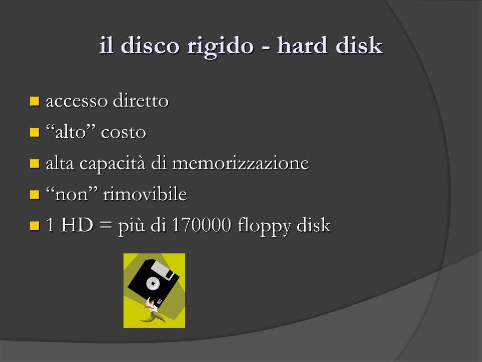 il disco rigido - hard disk accesso diretto accesso diretto alto costo alto costo alta capacità di memorizzazione alta capacità di memorizzazione non