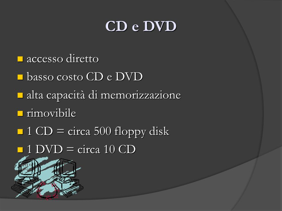 CD e DVD accesso diretto accesso diretto basso costo CD e DVD basso costo CD e DVD alta capacità di memorizzazione alta capacità di memorizzazione rim