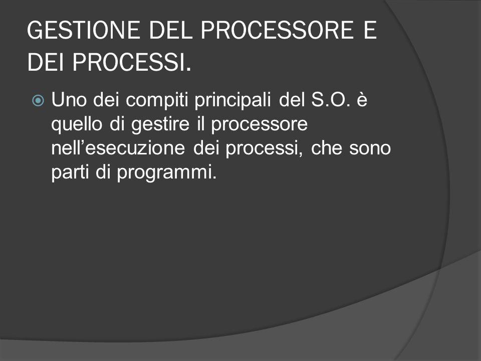 GESTIONE DEL PROCESSORE E DEI PROCESSI. Uno dei compiti principali del S.O. è quello di gestire il processore nellesecuzione dei processi, che sono pa