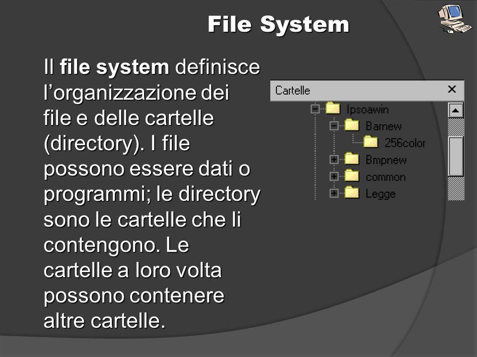 File System Il file system definisce lorganizzazione dei file e delle cartelle (directory). I file possono essere dati o programmi; le directory sono