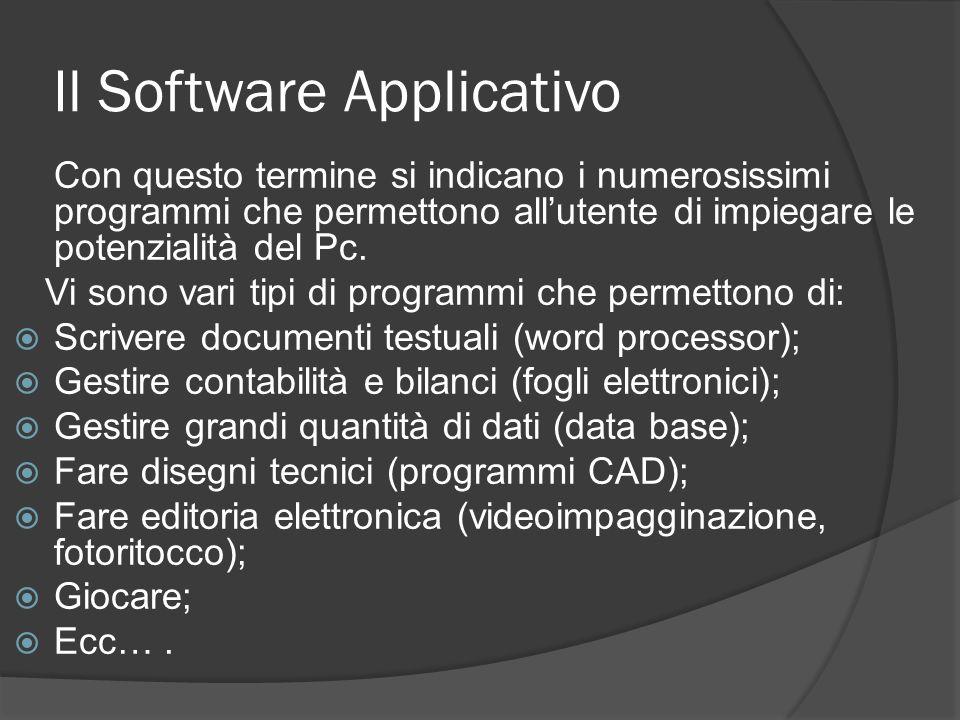 Il Software Applicativo Con questo termine si indicano i numerosissimi programmi che permettono allutente di impiegare le potenzialità del Pc. Vi sono