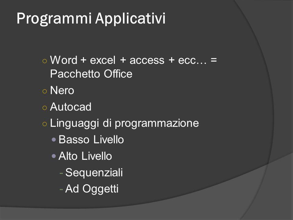 Programmi Applicativi Word + excel + access + ecc… = Pacchetto Office Nero Autocad Linguaggi di programmazione Basso Livello Alto Livello -Sequenziali
