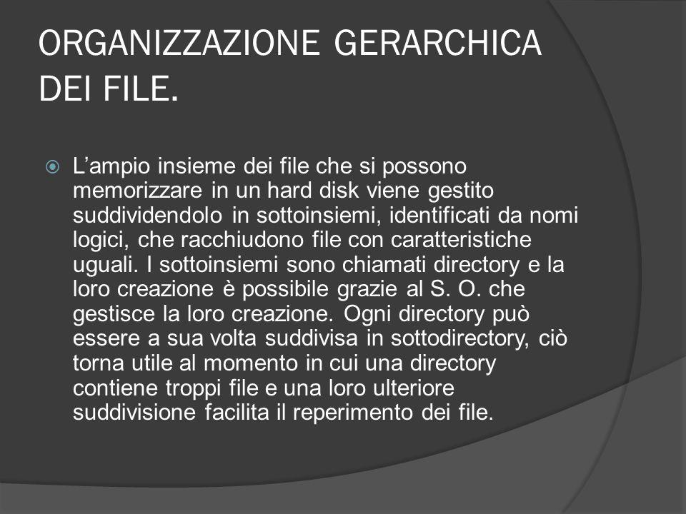 ORGANIZZAZIONE GERARCHICA DEI FILE. Lampio insieme dei file che si possono memorizzare in un hard disk viene gestito suddividendolo in sottoinsiemi, i
