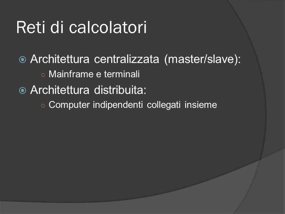 Reti di calcolatori Architettura centralizzata (master/slave): Mainframe e terminali Architettura distribuita: Computer indipendenti collegati insieme