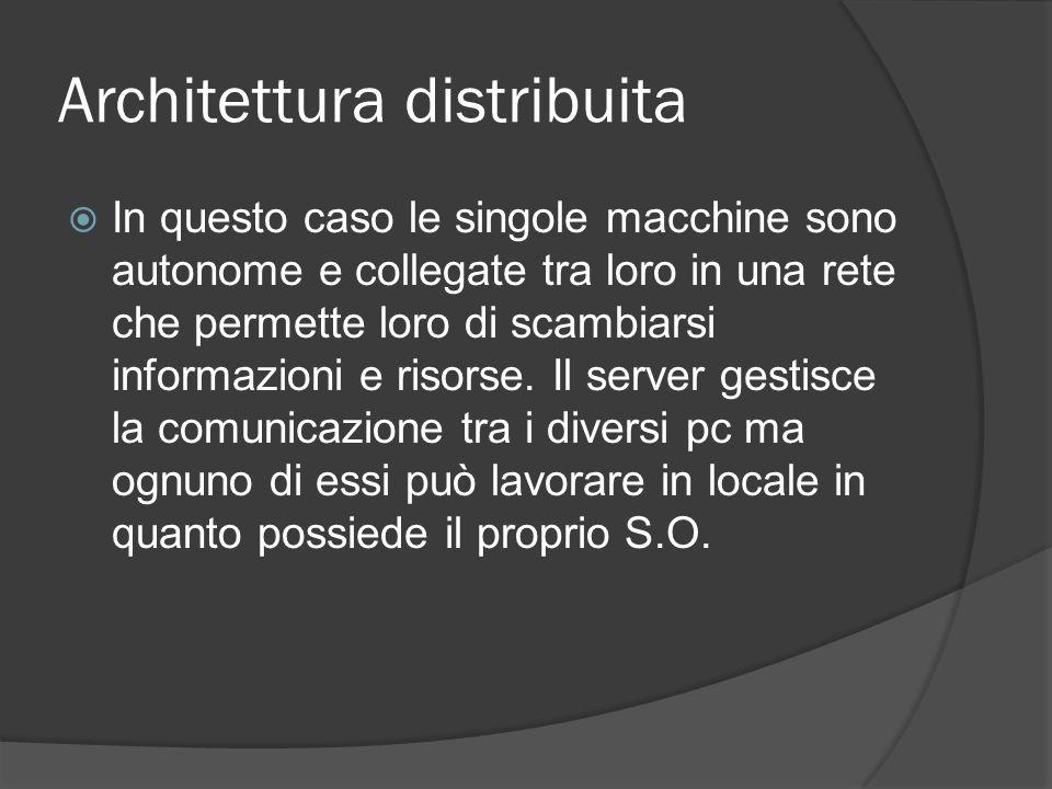 Architettura distribuita In questo caso le singole macchine sono autonome e collegate tra loro in una rete che permette loro di scambiarsi informazion