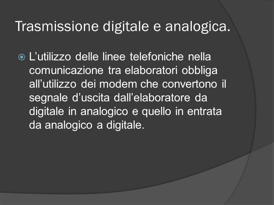 Trasmissione digitale e analogica. Lutilizzo delle linee telefoniche nella comunicazione tra elaboratori obbliga allutilizzo dei modem che convertono