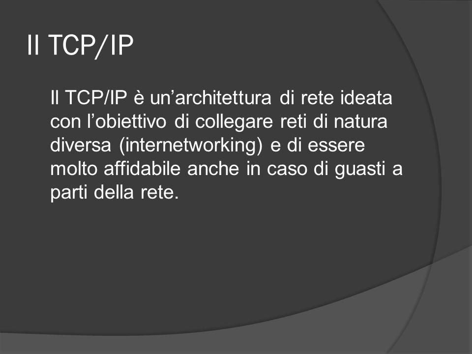 Il TCP/IP Il TCP/IP è unarchitettura di rete ideata con lobiettivo di collegare reti di natura diversa (internetworking) e di essere molto affidabile