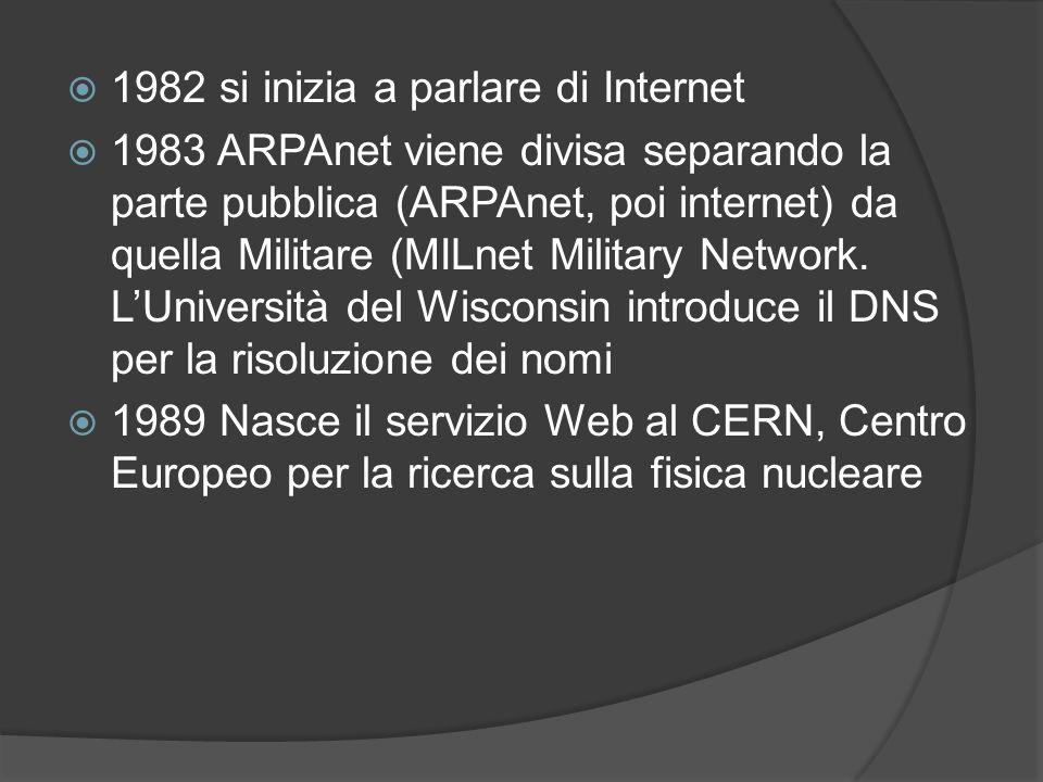 1982 si inizia a parlare di Internet 1983 ARPAnet viene divisa separando la parte pubblica (ARPAnet, poi internet) da quella Militare (MILnet Military