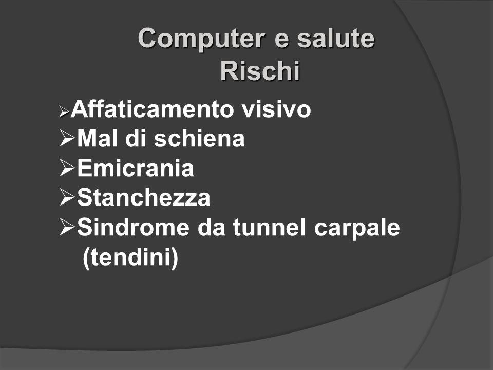 Rischi Rischi Affaticamento visivo Mal di schiena Emicrania Stanchezza Sindrome da tunnel carpale (tendini)