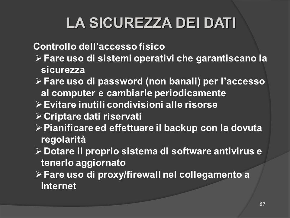 87 Controllo dellaccesso fisico Fare uso di sistemi operativi che garantiscano la sicurezza Fare uso di password (non banali) per laccesso al computer