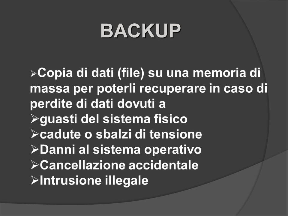 BACKUP Copia di dati (file) su una memoria di massa per poterli recuperare in caso di perdite di dati dovuti a guasti del sistema fisico cadute o sbal