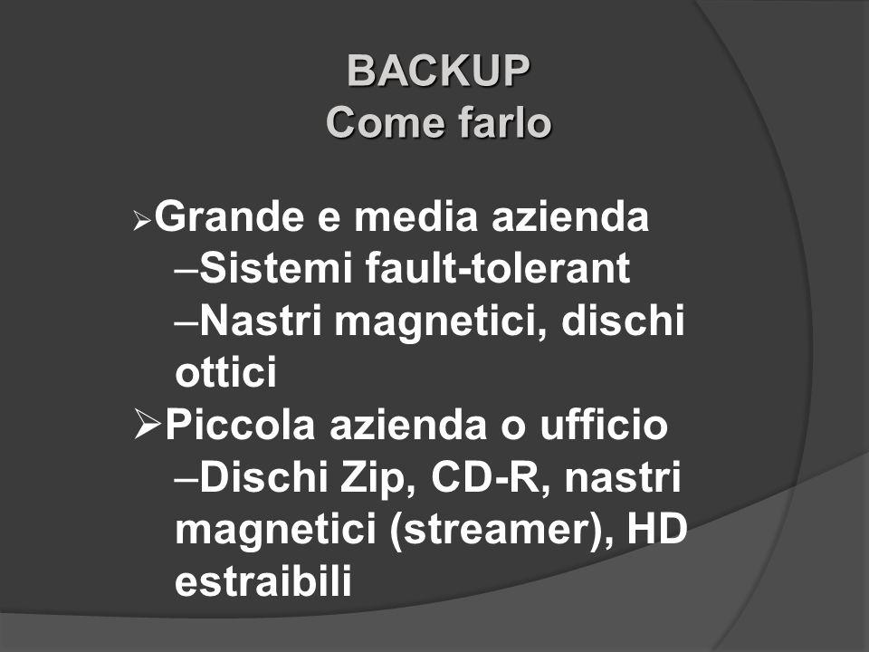 BACKUP Come farlo Grande e media azienda –Sistemi fault-tolerant –Nastri magnetici, dischi ottici Piccola azienda o ufficio –Dischi Zip, CD-R, nastri
