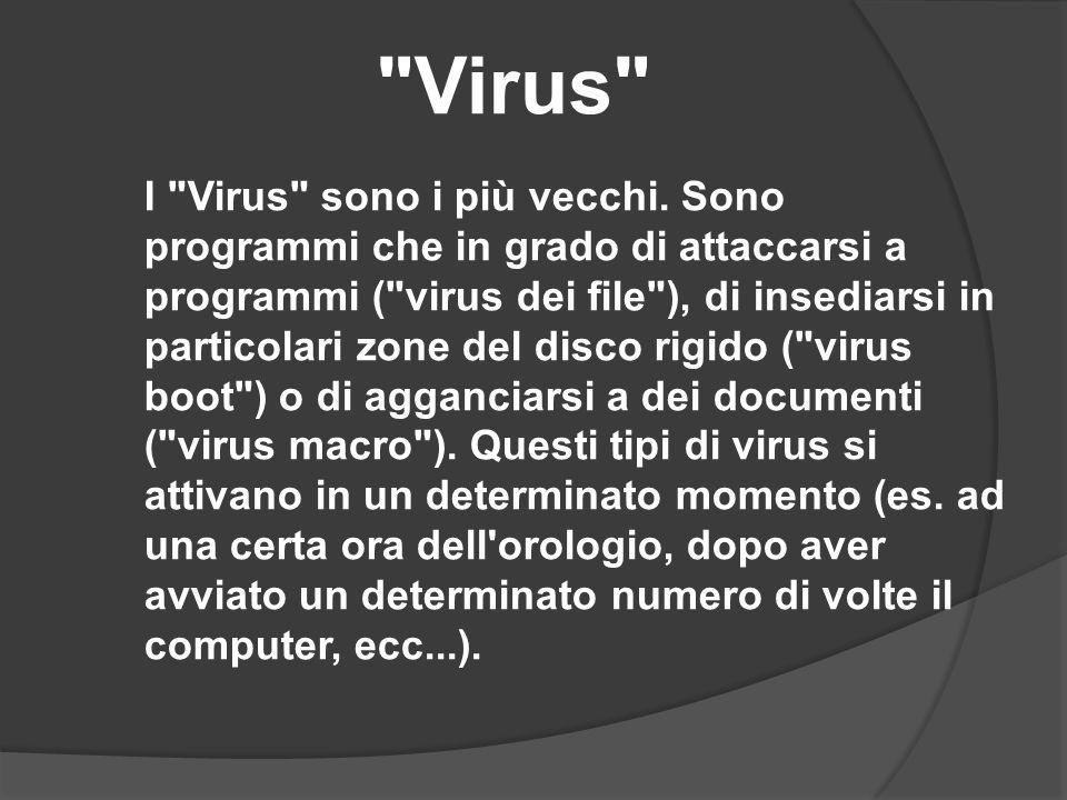 95 I Worm ( vermi ) fanno parte di quei virus provenienti dalla rete, attraverso la posta elettronica.