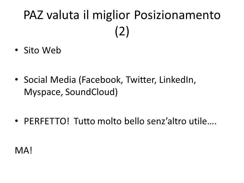 PAZ valuta il miglior Posizionamento (2) Sito Web Social Media (Facebook, Twitter, LinkedIn, Myspace, SoundCloud) PERFETTO.