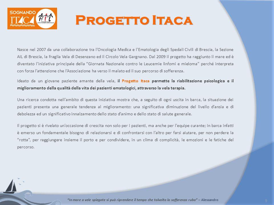9 Nasce nel 2007 da una collaborazione tra lOncologia Medica e lEmatologia degli Spedali Civili di Brescia, la Sezione AIL di Brescia, la Fraglia Vela