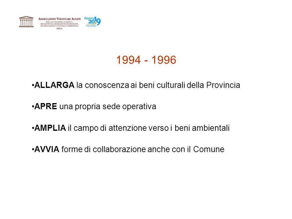 1994 - 1996 ALLARGA la conoscenza ai beni culturali della Provincia APRE una propria sede operativa AMPLIA il campo di attenzione verso i beni ambientali AVVIA forme di collaborazione anche con il Comune