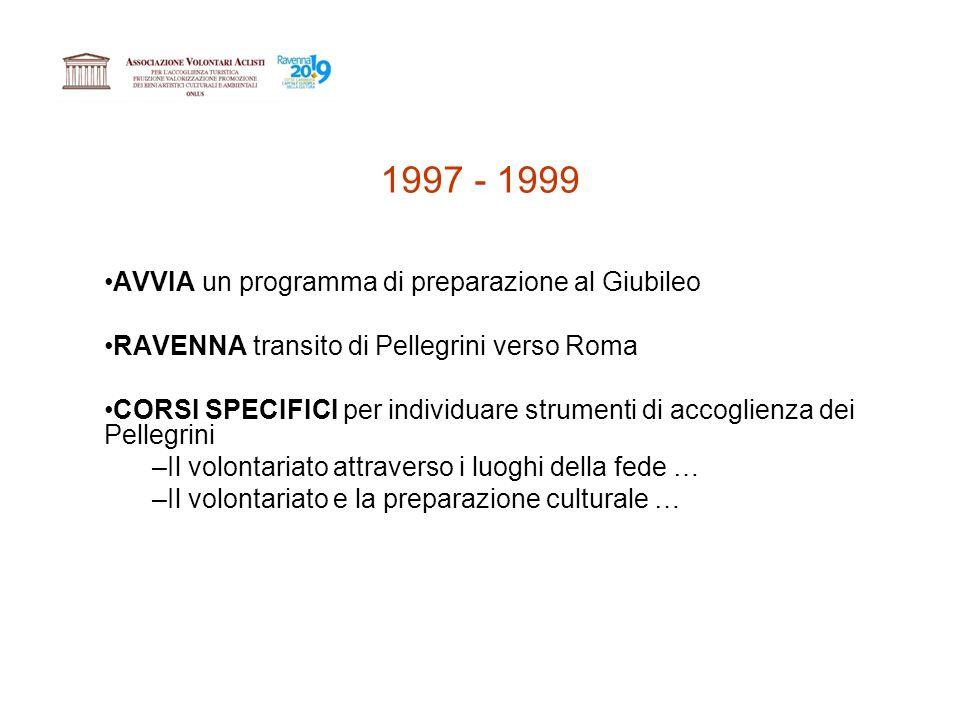 1997 - 1999 AVVIA un programma di preparazione al Giubileo RAVENNA transito di Pellegrini verso Roma CORSI SPECIFICI per individuare strumenti di accoglienza dei Pellegrini –Il volontariato attraverso i luoghi della fede … –Il volontariato e la preparazione culturale …