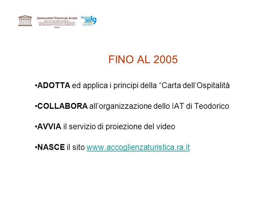 FINO AL 2005 ADOTTA ed applica i principi della Carta dellOspitalità COLLABORA allorganizzazione dello IAT di Teodorico AVVIA il servizio di proiezione del video NASCE il sito www.accoglienzaturistica.ra.itwww.accoglienzaturistica.ra.it