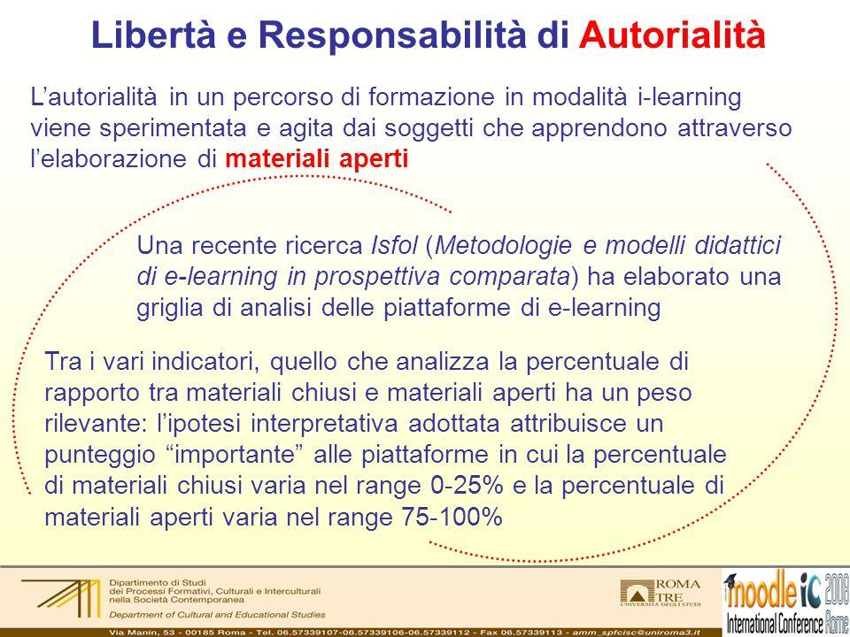 Libertà e Responsabilità di Autorialità Lautorialità in un percorso di formazione in modalità i-learning viene sperimentata e agita dai soggetti che a